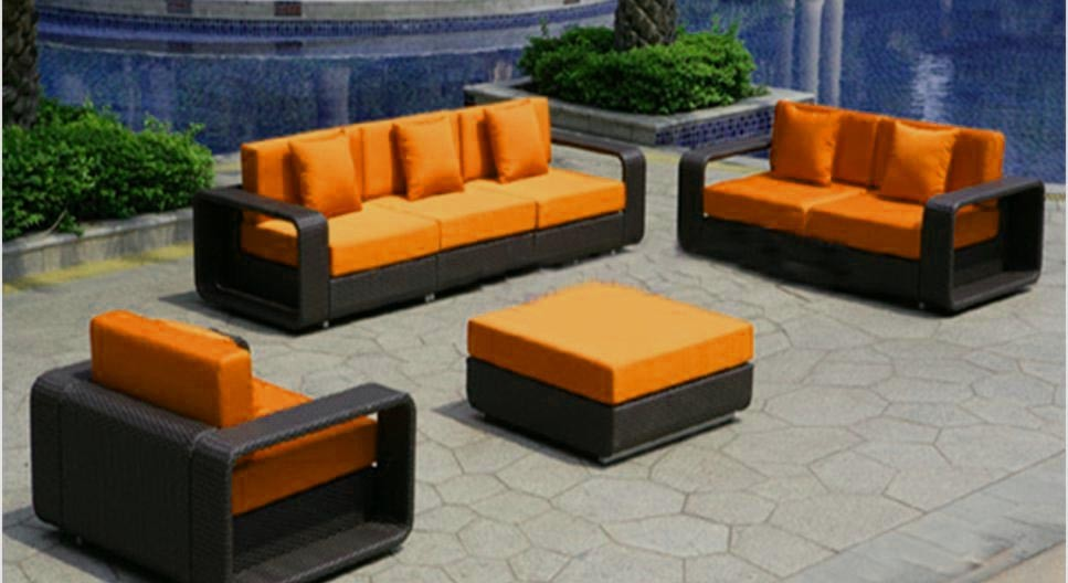 Dark Wicker Furniture - Orange Cushions - SF48