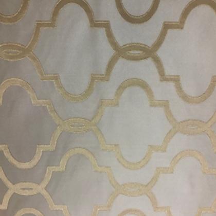 "Antique Gold Geometric Print - 102"" Square - LPR108 Jacquard"