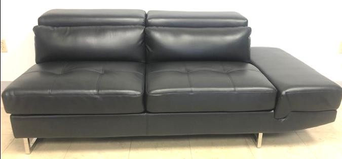 Black Leather Sofa with Adjustable Headrest - SF06