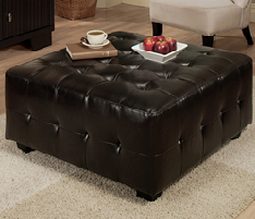 black leather tufted ottoman sf80 qty 4
