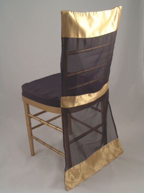 Black Organza with Gold Satin Edge Chair Sleeve