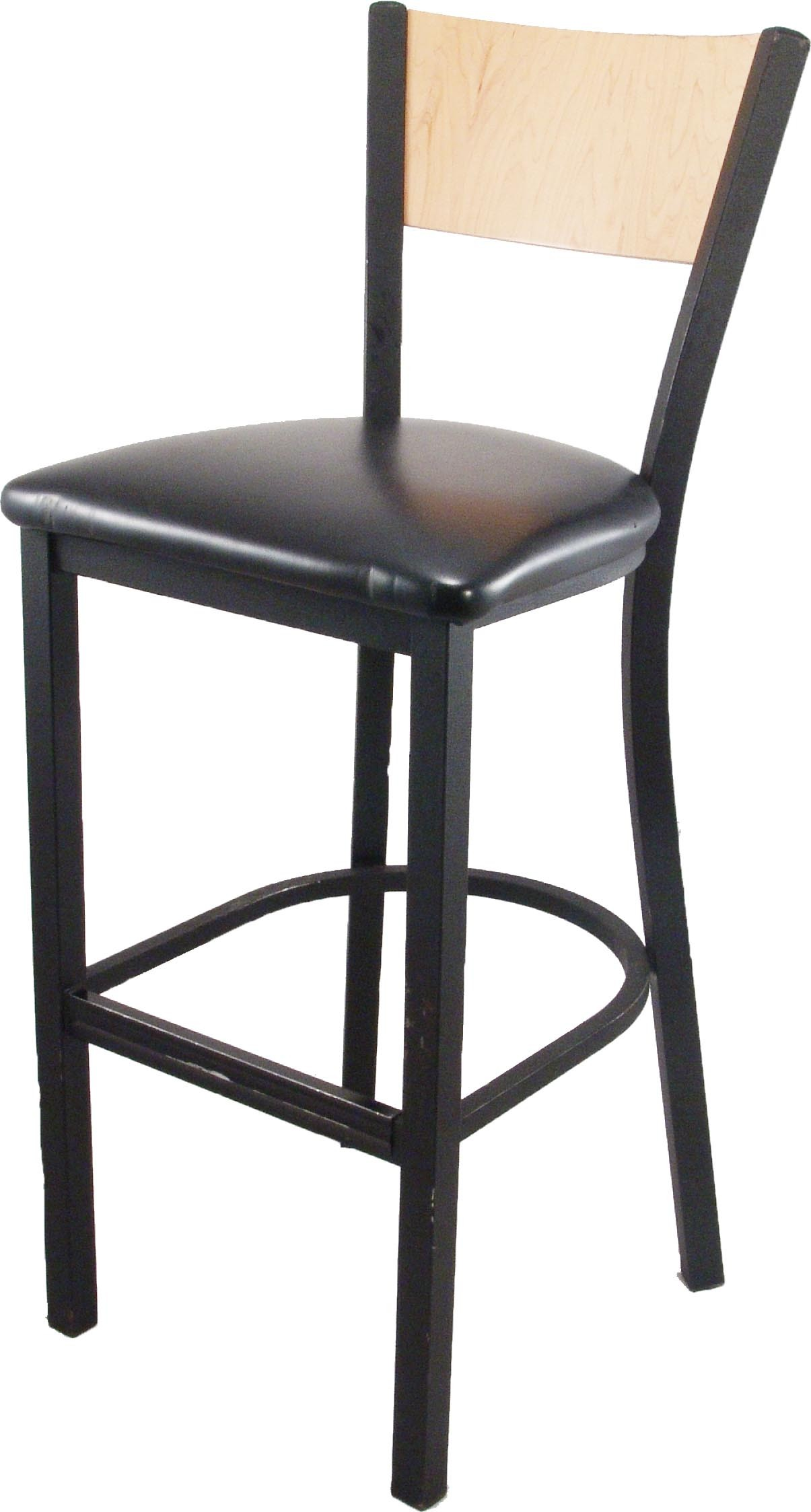 Black Stool with Light Oak Back - C22