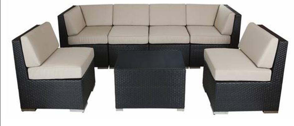 Black Wicker Modular Furniture Furniture with Beige Cushions - SF21
