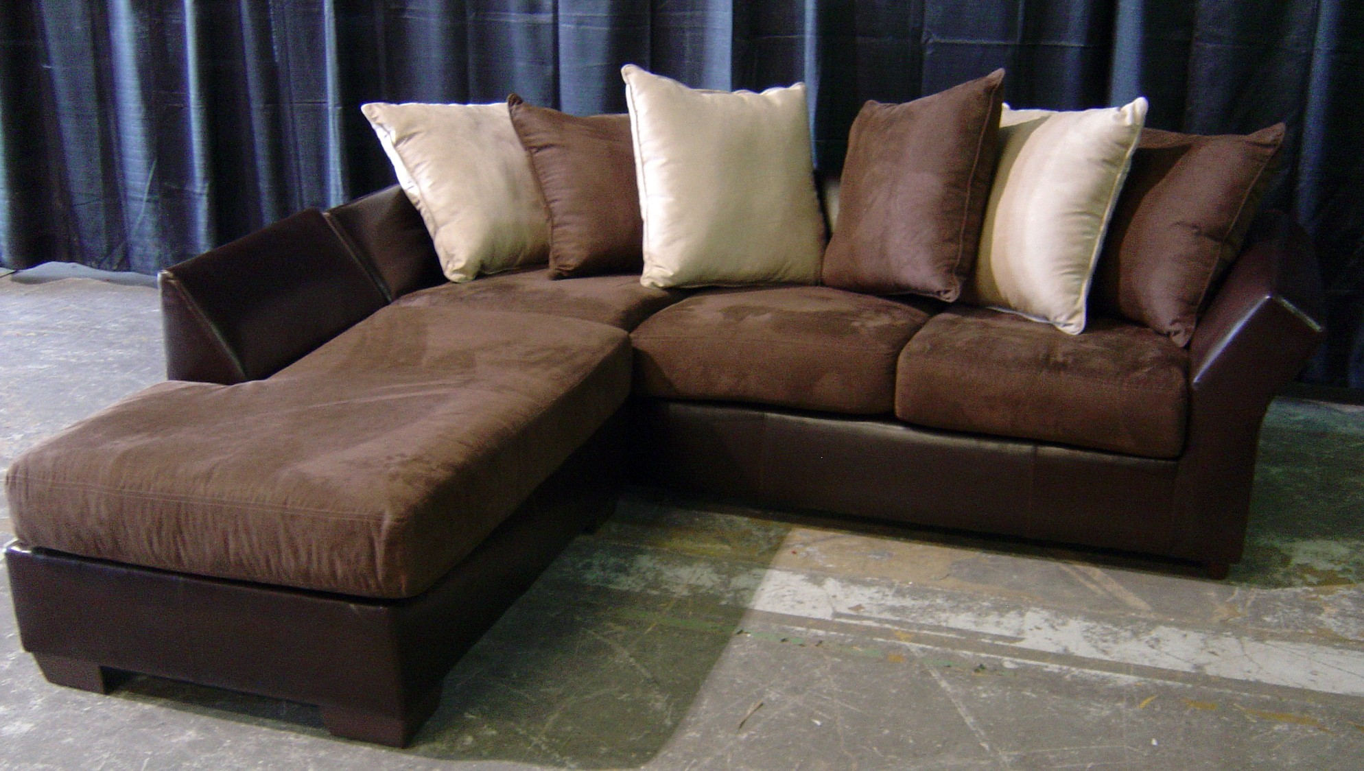Brown leather and suede sofa with chaise event companies for Suede furniture