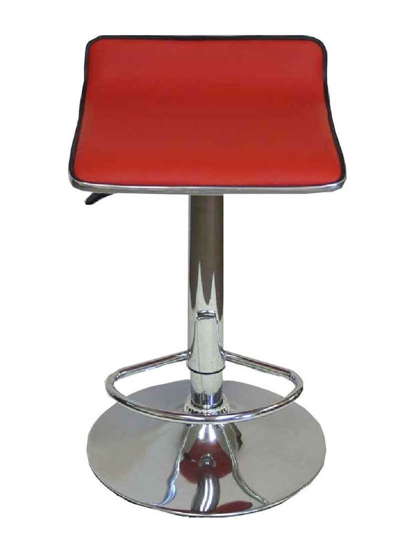 Red Leather Contemporary Bar Stool
