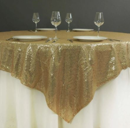 "120"" Champagne Gold Sequin Glitz Tablecloth - LSG04"
