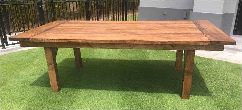 4' x 8' Stained Wooden Farm Table - SF90