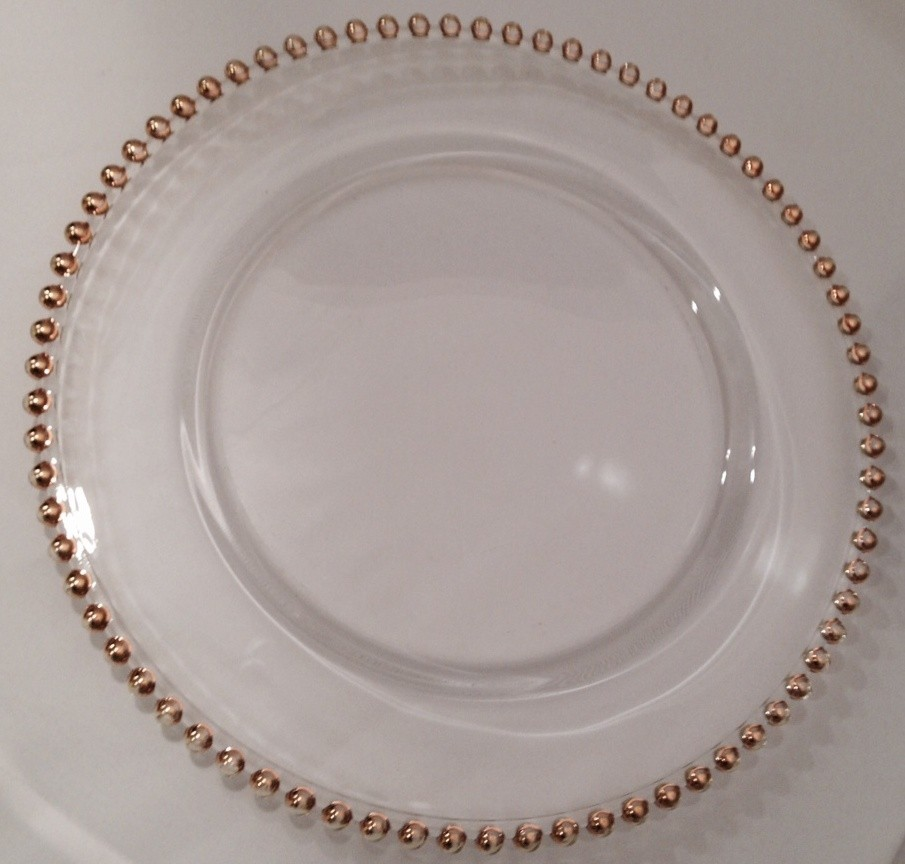 Crystal with Gold Beaded Edge Charger Plate - TD20
