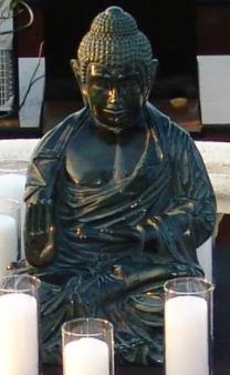 dark green sitting Buddha
