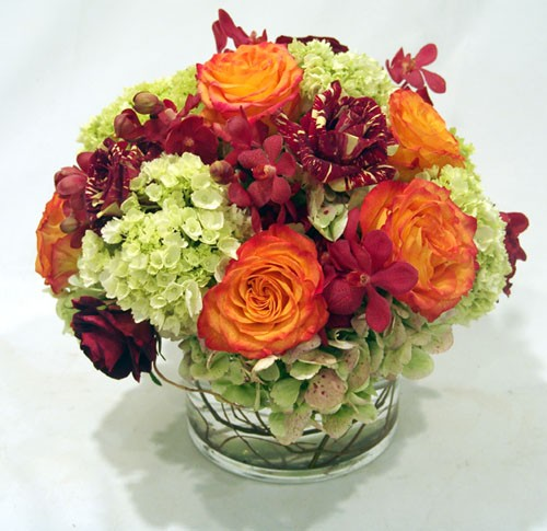 Hydrangea, Roses and Orchids in Glass Container- PF26