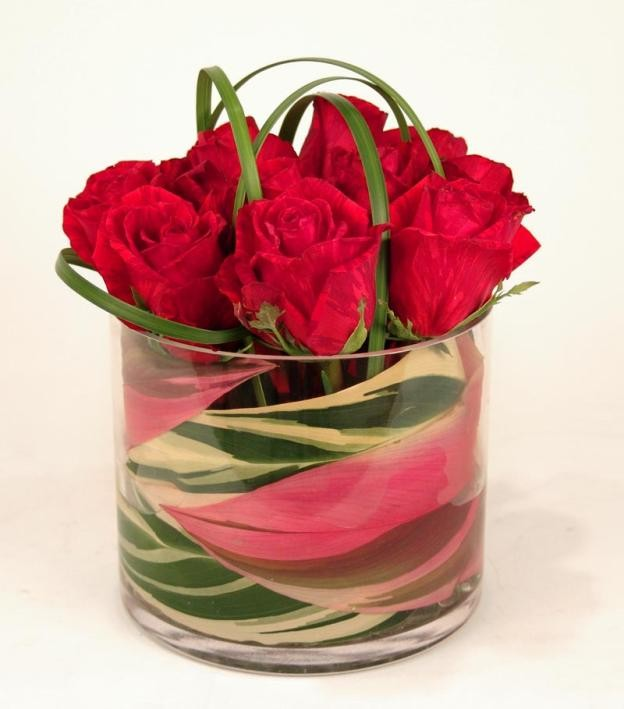 Roses in a Low Glass Cylinder- PF27