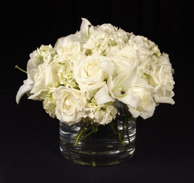 Hydrangea, Lillies and Roses, low crystal container- PF71