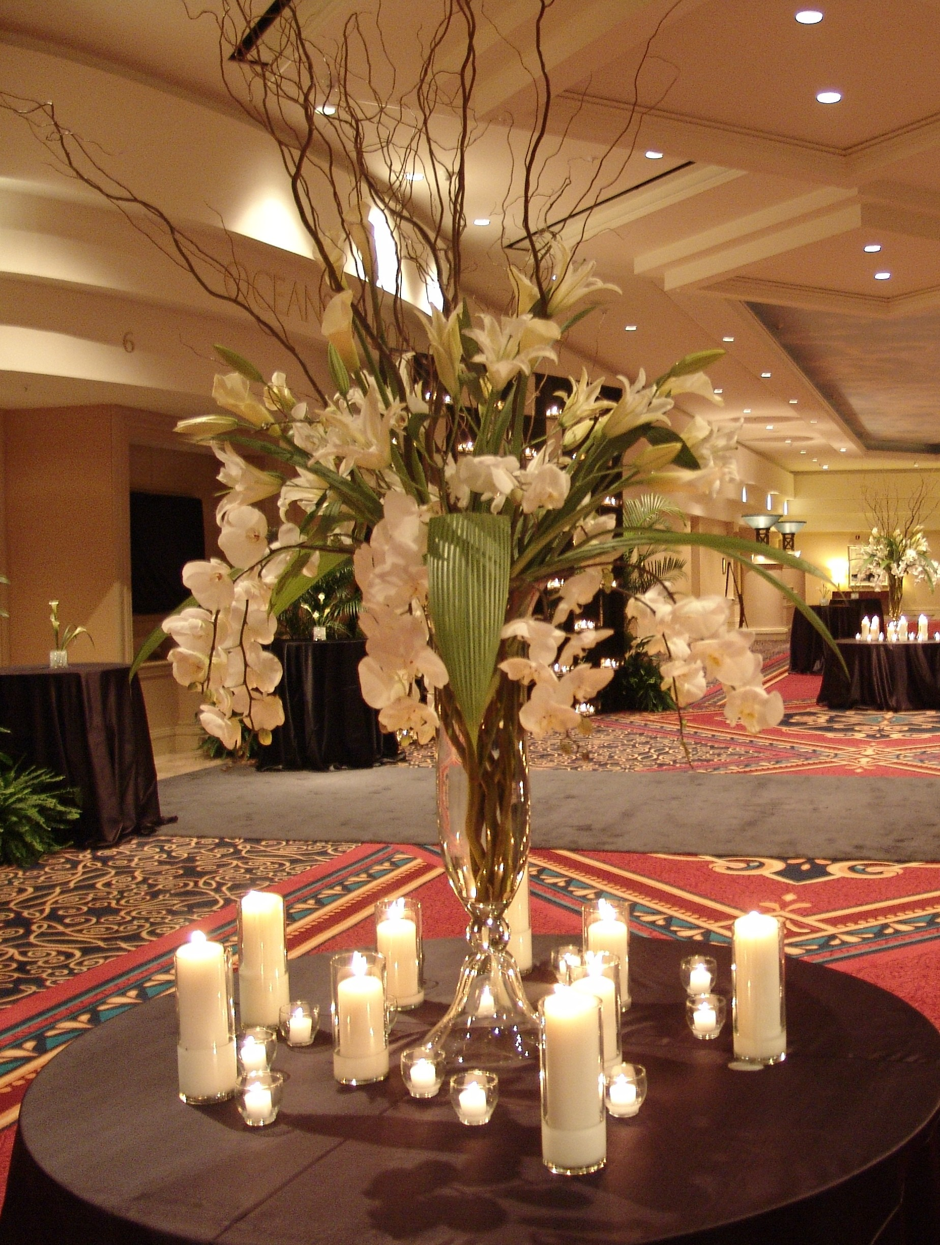 Large White Floral with Branches and Candles
