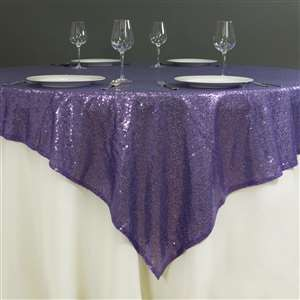 "90"" x 90"" Purple Sequin Glitz Table Overlay - LSG01"