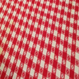 Picnic Check - Red, White, Floral on Red Squares - LPR102