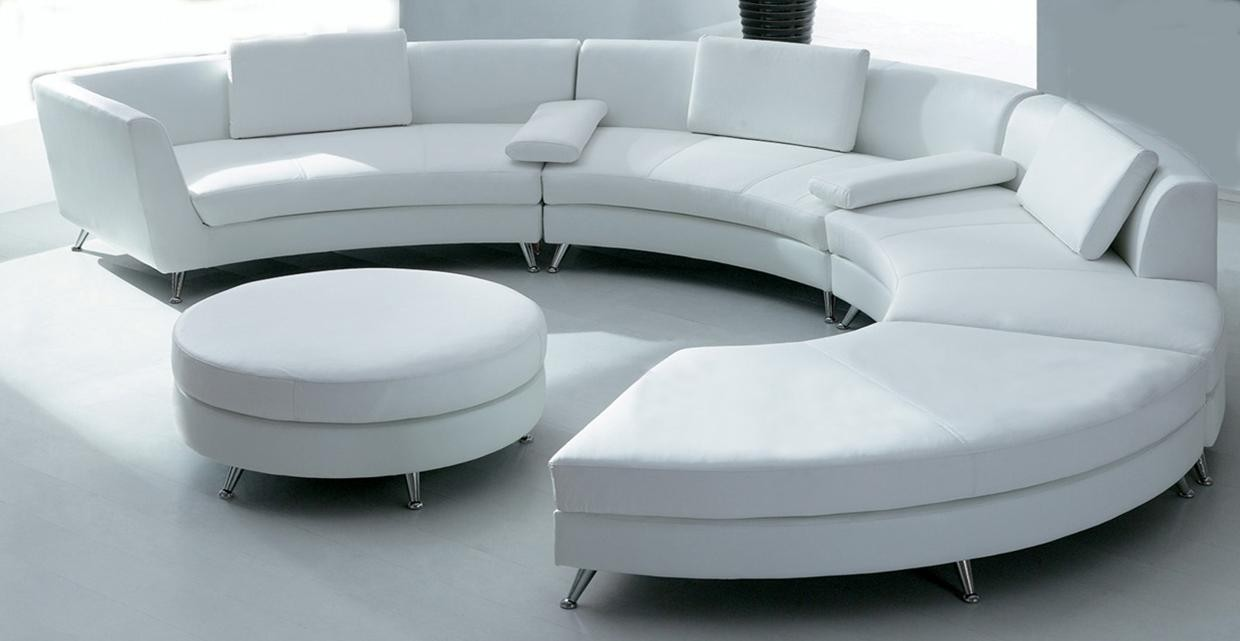Orlando white circular leather sofa rental - Sofa piel blanco ...