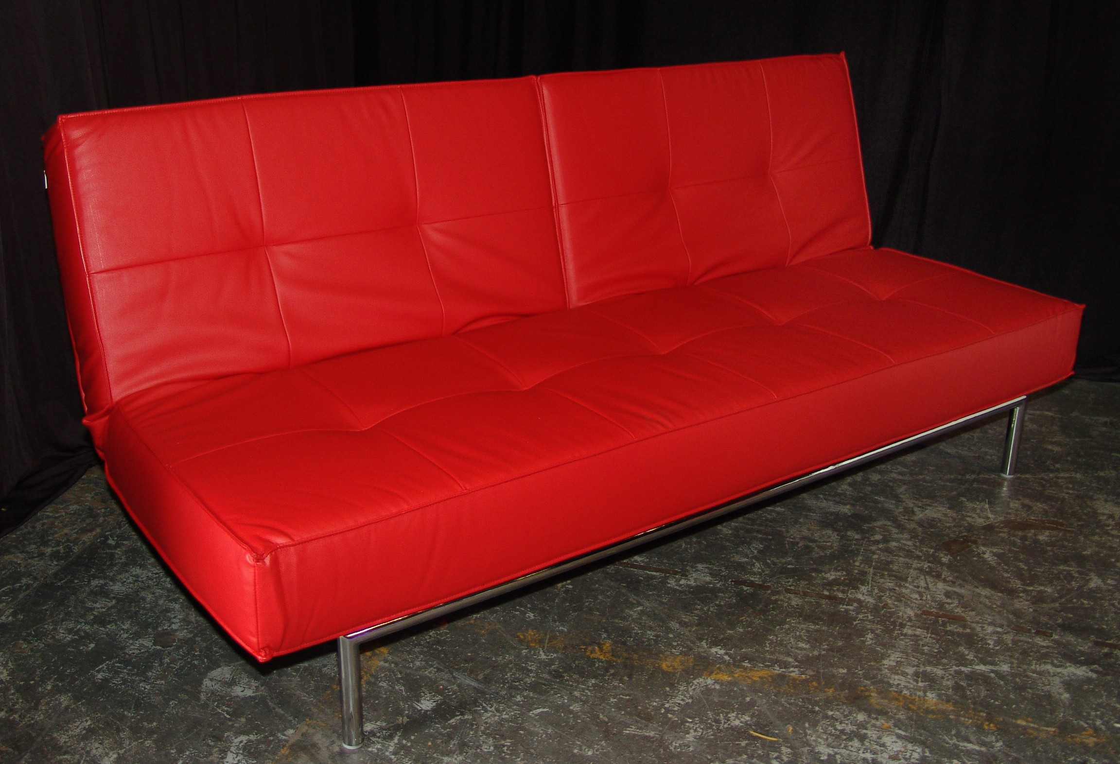Red Leather Convertible Sofa | Orlando Event Rentals