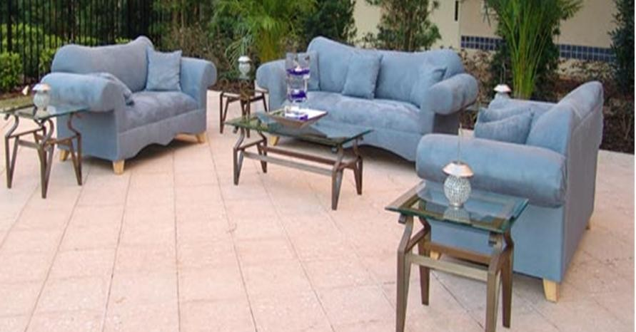Blue Microfiber Sofa and Love Seat | Event Services Orlando