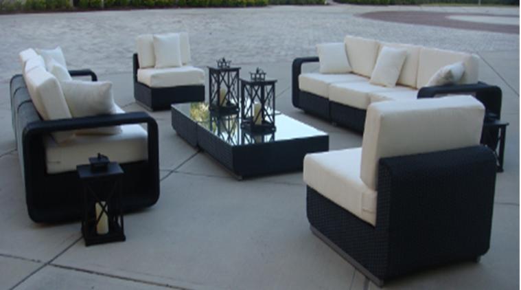 Dark Wicker Furniture with White Cushions