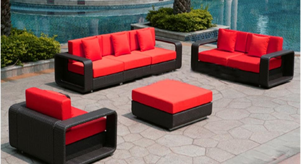 Dark Wicker Furniture with Red Cushions