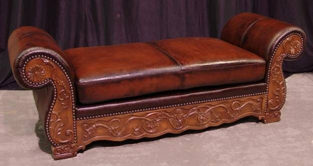 Hand Carved Walnut and Leather Settee - SF53