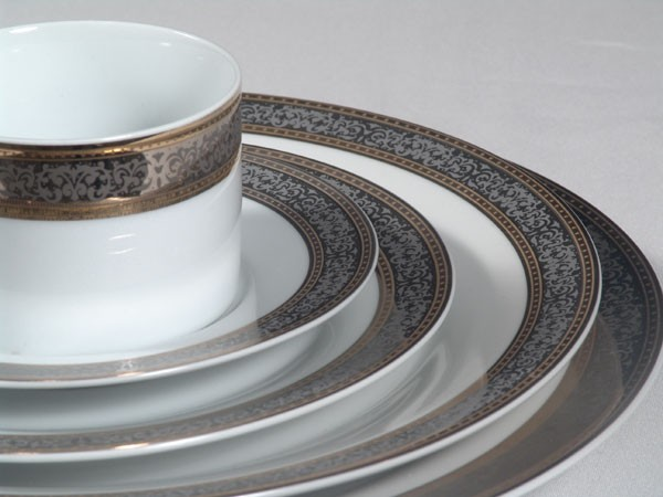 White China w/ Platinum Pattern and Gold Rim