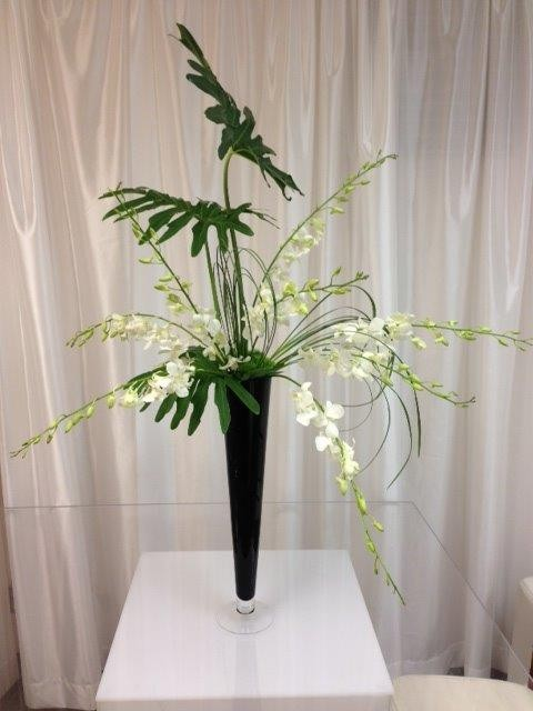 White Dendrobium Orchids with Monstera Leaves