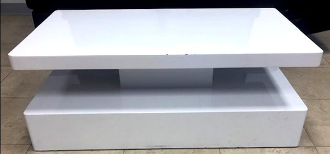 White Lacquer Coffee Table with Double Shelf - SF16