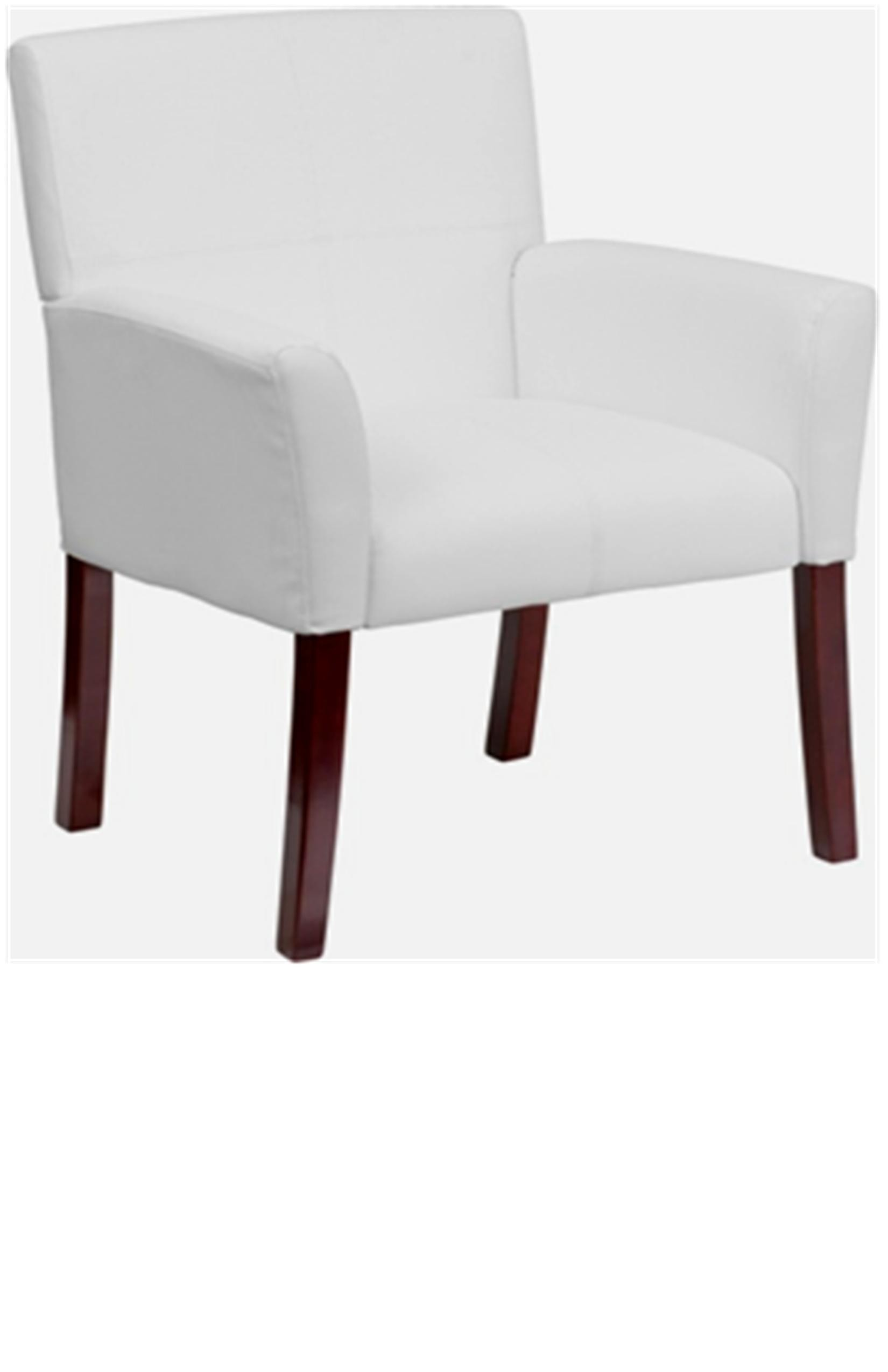 White Leather Executive Side Chair with Mahogany Legs - C77