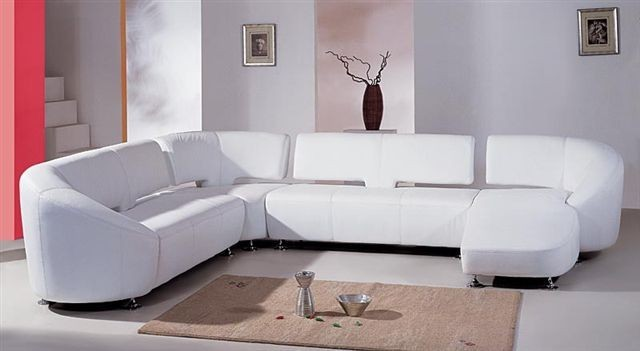 White Leather Sofa with Chaise - SF40