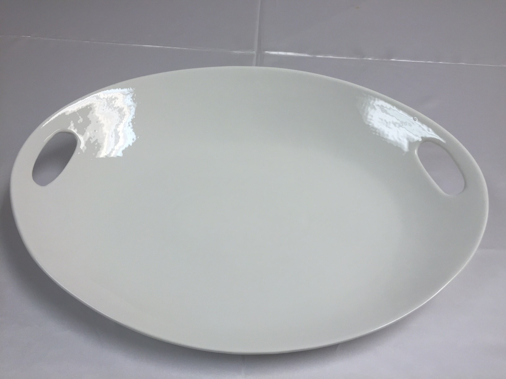 White Porcelain Platter with Handles - CE38