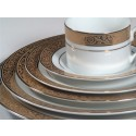 White China w/ Gold Pattern & Gold Band - TD13