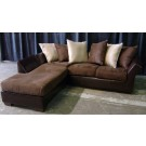 Brown Leather and Suede Sofa with Chaise