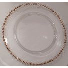 Crystal with Gold Beaded Edge Charger Plate
