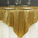 "90"" x 90"" Gold Sequin Glitz Table Overlay - LSG06"