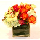 Hydrangea, Roses and Orchids, Glass Cube - PF25