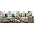 Light Grey Upholstered Furniture W/ Silver Studded Accents