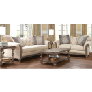 Parchment Sofa and Loveseat with button tufting