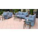Blue Microfiber Sofa & Love Seat