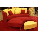 Red and Gold Three Piece Sofa