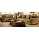 Tan Upholstered Sofa and Love Seat with Studded Arms