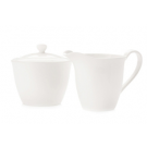 White China Sugar Bowl and Creamer - C016