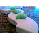 White Leather Serpentine Ottoman - SF43 - (Qty: 16)